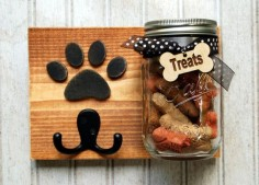 Dog treat jar with leash holder. Dog treat jar/Leash holder combination. Handmade Treat Holder