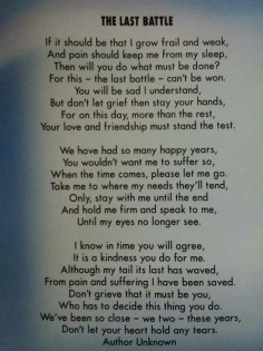Don't even try to read this without a kleenex at the  have been  tough to lose a loved animal / a part of the