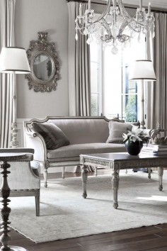 ♅ Dove Gray Home Decor ♅ classically appointed grey living   this looks like an old b&w pic from the  this for  but to dowdy for today's decor
