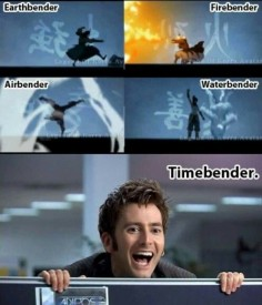 Earthbender, Firebender, Waterbender, Airbender, Timebender, funny, Avatar: the Last Airbender, text, Doctor Who, David Tennant, Time Lord, crossover; Anime