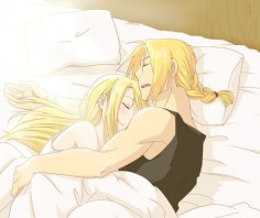 "Ed and Winry of ""Full Metal Alchemist: Brotherhood"" I was waiting for this the whole series!!!"