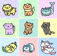 Eeveelutions as Neko Atsume kitties