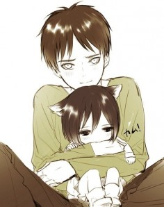 "Eren with neko mikasa eren x  he has that look like ""can i keep her?"""
