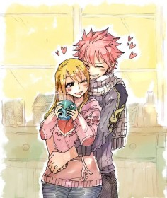 Every time during lunch my boyfriend hugs me from behind the whole time ♥. I just think of us because of this, and my brother says I'm like Lucy and my boyfriend is like Natsu. ♥ ♥ ♥