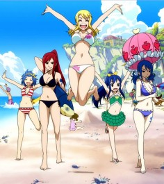 Fairy Tail Fantasy Anime Girls at the beach