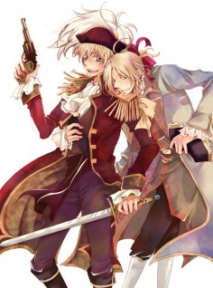 Fan Art of Pirate England and France for fans of Hetalia.