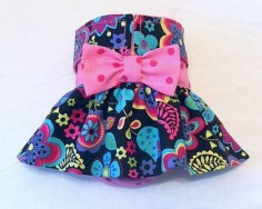 Female Dog Diaper Skirt Perfect for your dog in Season and House Training Flowers on Chocolate Hot Pink Dots