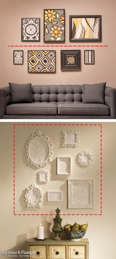 Frame Hanging Tips: If you have a generous amount of horizontal wall space, draw an imaginary line on your wall and place artwork above and below the line. If you want to fill vertical wall space, create a square or rectangle on your wall with painter's tape and loosely arrange your pieces inside.