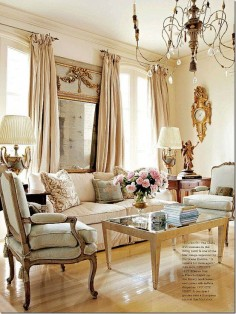 French inspired living room (for my bedroom, since this involves less altering the walls and more accenting them well)
