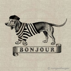 French Wienie! yes, please! ♥ French Dachshund Bonjour Digital by WingedImages, $