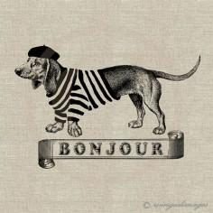 French Wienie! yes, please! ♥ French Dachshund Bonjour Digital by WingedImages, $