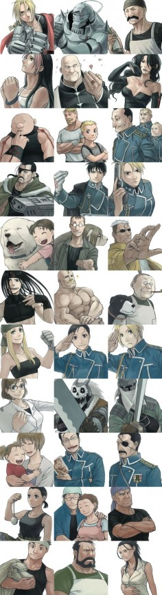 Fullmetal Alchemist characters - (a few) Edward Elric, Alphonse Elric, Nina, Alexander, Rose, Hawkeye, Mustang, ect.