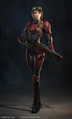 Future Girl, Futuristic Warrior, Girl with Gun, Red Tech Sci Fi by *Zeronis on deviantART