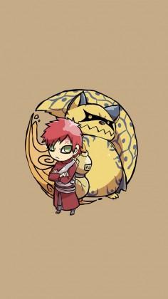Gaara and Shukaku the Ichibi - Tap image for more Cute Jinchūriki Bijuu Naruto Shippuden Characters Wallpapers Collection - Wallpaper for iPhone 5/5s/5c, iPhone 6/6 Plus @mobile9 #anime #manga