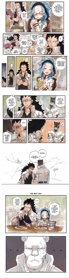 Gajeel, Levy, Lily. The look on Lily's face he's just like wow Gajeel just wow.