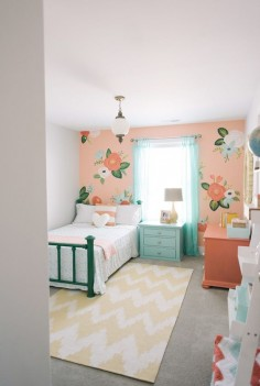 Girl's bedroom inspired by Rifle Paper Co. by Design Loves Detail (via House of Turquoise).