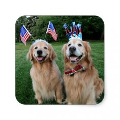 Golden Retriever Outdoor Independence Day Stickers by #AugieDoggyStore. Sold 3 sheets to a customer in Duluth, MN.