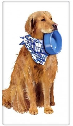 Golden Retriever with Bowl 100% Cotton Flour Sack Dish Towel Tea Towel