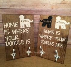 Goldendoodle leash holder by TheSassyOak on Etsy
