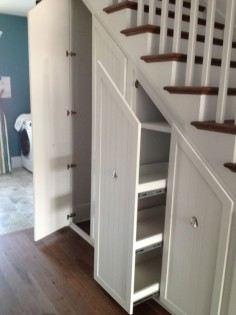 Gorgeous Under Stair Storage look Charleston Transitional Staircase Image Ideas with built-in storage closet closet organizers hidden storage pull-out shelves pull-out storage secret closet stair