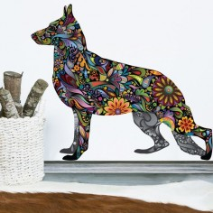 Handsome hound! This gorgeous German Shepherd Dog decal displays a rainbow of colors with its eye catching floral design! Available in multiple sizes, this playful dog-themed room decor will add flair to your home, business or workplace. This colorful German Shepherd wall sticker also makes a great gift for dog lovers of all ages! Available in these 4 sizes (in inches): Small 14w x 12h Medium  x  Large  x  (realistic dog size, 24 inches at withers) X-Large  x