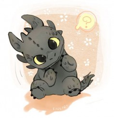 Here we have Toothless from how to train your dragon chibi anime wallpaper.