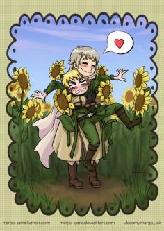 #hetalia #aph #aphrussia #aphengland #ivanbraginsky #arthurkirkland #ruseng #rusuk #margosama #sunflower