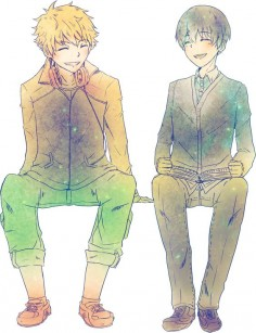 Hide and Kaneki looking adorable together. Wish I had a friend like Hide.