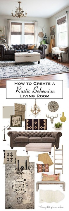 How to Create a Rustic Bohemian Living Room {Source List & Inspiration}