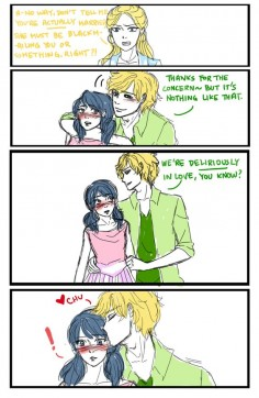 I drew more fanart for Korean twitter headcanon storiesThe premise for this one was 'Adult Adrien and Marinette are forcibly married because papa Agreste (who is not Hawkmoth in this scenario) reckons Marinette is a suitable successor to his fashion empire and wants to keep it in the family'. The explanation for the comic-y part is Chloe finds out about the marriage and bullies Marinette about it relentlessly, so Adrien steps up and decides to put a stop to it in his own way. :PI love the