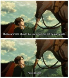 I hate people. (Levi heichou, attack on Titan)