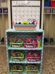 I like the idea of having desk supplies in a central location and off the  lost crayon/pencil/whatever buckets/cans would be great on top!!