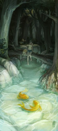 "I look at the pretty pond and kick my feet around. I start to stand in it when I hear a loud ""Who's there?!"" I jump and fall into the water (Open rp)"