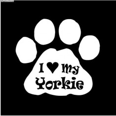 I Love my Yorkie decal sticker dog paw