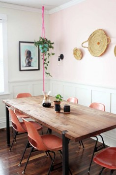 "i love the hint of pink on the wall // Before & After: ""MOHO"" Style in a Colorful Family Home Design*Sponge"