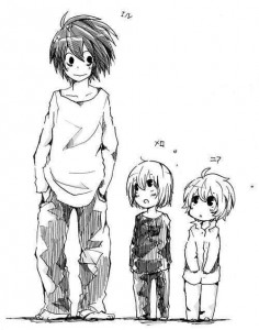 I love these pictures of L and little Mello and Near
