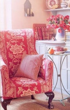 I love this red toile French chair.