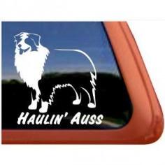 I want this! Way better than those silly stick figure families!    Haulin' Auss Australian Shepherd Dog Vinyl Window Decal