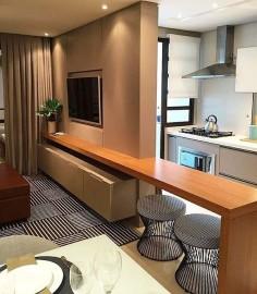 Integração linda da Sala com a Cozinha! ❤️ AMEEEII  Por Luisa Grillo