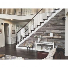 Interior wood walls are all the rage, but the thought of gathering and mounting reclaimed barn wood was way more than my lazy *ss could handle.