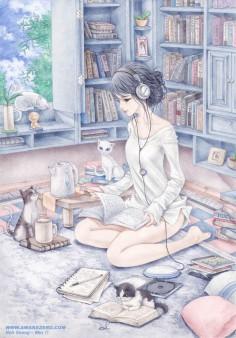 jeune femme qui lit accompagner de son chat