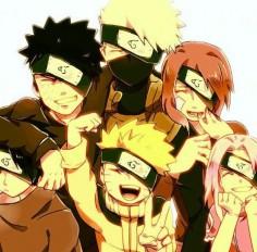 Kakashi , Obito , Rin , Sasuke , Naruto , Sakura :3