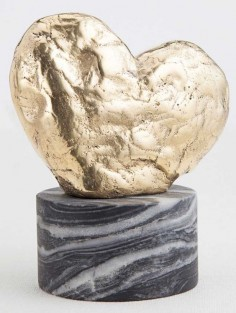 KELLY WEARSTLER | AMORATA SCULPTURE. Hand-sculpted brass heart atop a marble base