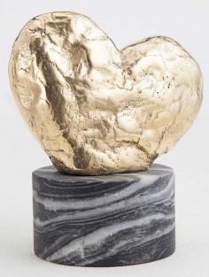 KELLY WEARSTLER | AMORATA SCULPTURE. Hand-sculpted brass heart atop a marble base
