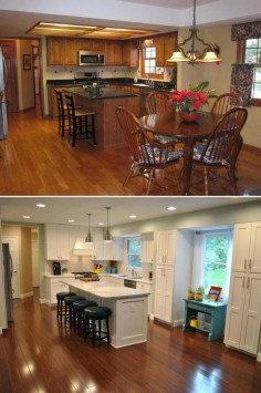 "Kitchen Makeover: ""Full first floor renovation (Kitchen shown here). Old floor had carpet, 3 1/4"" oak hardwood and tile. Ripped it all up and put down new bamboo."""