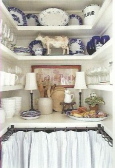 Kitchen pantry with blue & white dishes & skirted with ticking stripe - Mary McCollister Finch