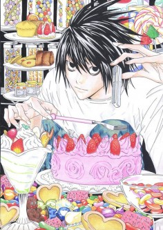 L from Death Note with his sweets addiction.