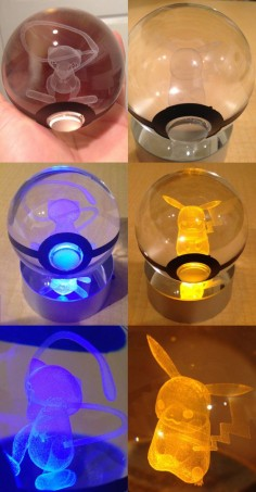 LED Pokeballwith Pokemon Inside  Light up your room the way a true Pokemon Master would with a truly unique piece of art. LED light shines through the crystal Pokeball - illuminating the 3D laser-sketched Pokemon trapped inside. Guaranteed to impress any Pokemon fan.  Click here to check it out!Or here to find more awesome merchandise