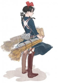 Levi from Attack on Titan/ Kiki's delivery service crossover
