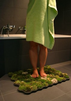 Live moss mat that survives off of the water that you drip off when exiting the shower, WHAT?!  :)